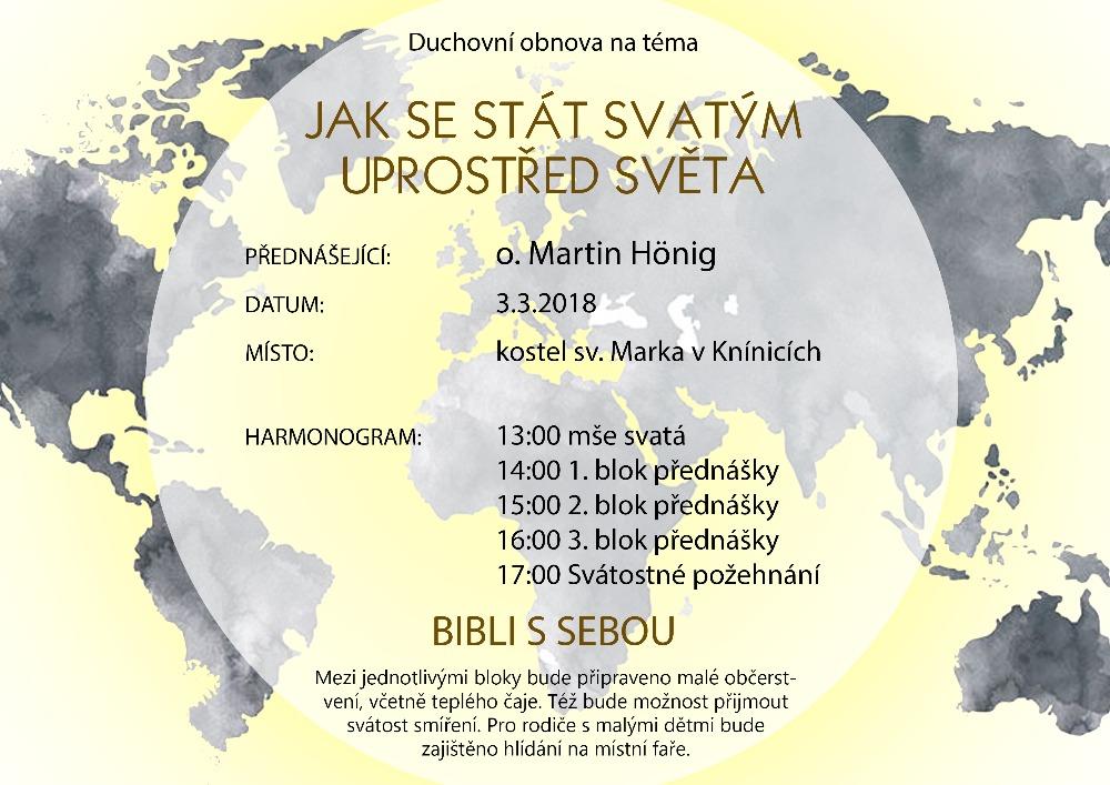 Duchovní obnova - o. Martin Hönig, 3.3.2018 Knínice